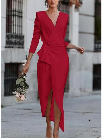Solid Long Sleeves Sheath Elegant Maxi Dresses