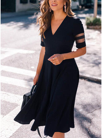 Solid Short Sleeves A-line Skater Little Black/Elegant Midi Dresses
