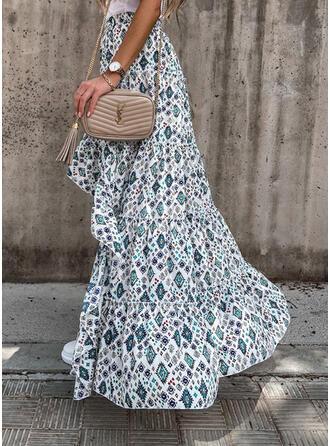 Polyester Print Asymmetrical A-Line Skirts