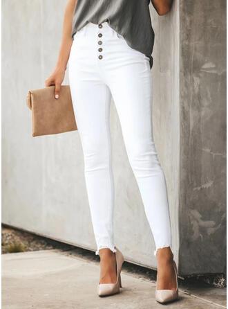Solid Denim Long Casual Plus Size Office/Business Pocket Button Pants Denim & Jeans
