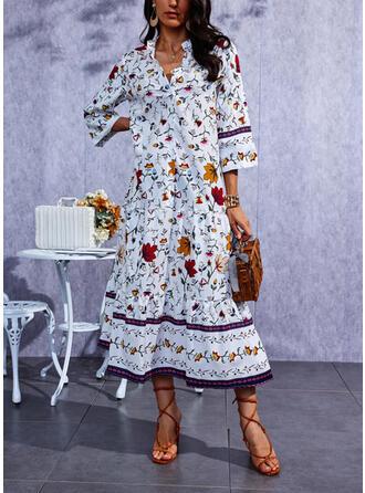 Print 1/2 Sleeves Shift Casual Maxi Dresses