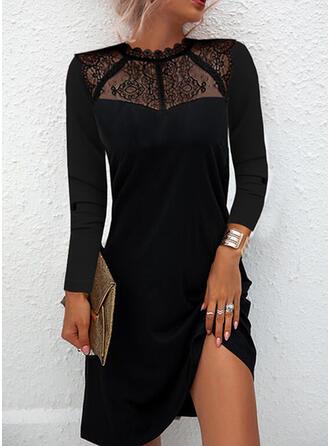 Solid Lace Long Sleeves Shift Above Knee Little Black/Elegant Dresses