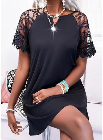 Solid Lace Short Sleeves Shift Above Knee Little Black/Elegant Tunic Dresses