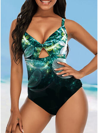 Print Strap V-Neck Attractive Casual One-piece Swimsuits
