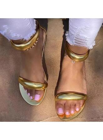 Women's PU Flat Heel Sandals Peep Toe With Zipper Solid Color shoes