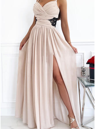 Solid Lace Sleeveless A-line Slip/Skater Party/Elegant Maxi Dresses