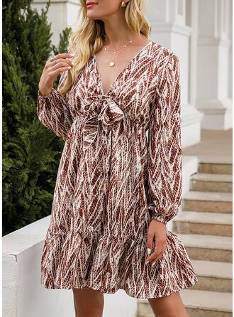 Print Short Sleeves/Long Sleeves Shift Knee Length Casual Tunic Dresses