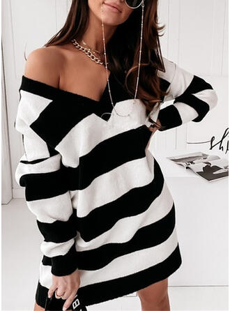 Striped V-Neck Casual Sweater Dress