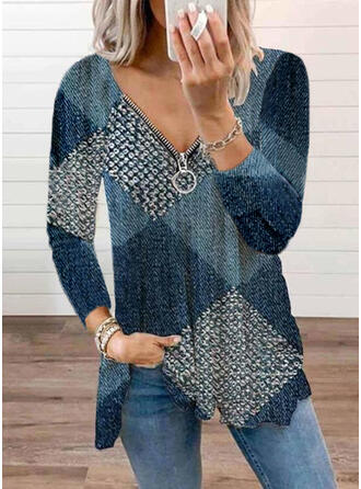 Color Block V-Neck Long Sleeves T-shirts