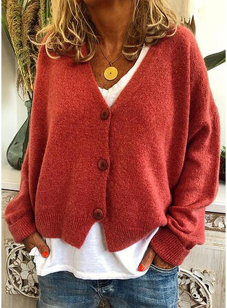 Polyester Long Sleeves Solid Chunky knit