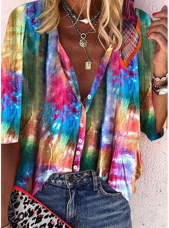 Tie Dye V-Neck 3/4 Sleeves Button Up Casual Shirt Blouses