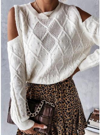 Solid Cold Shoulder Knit Tops
