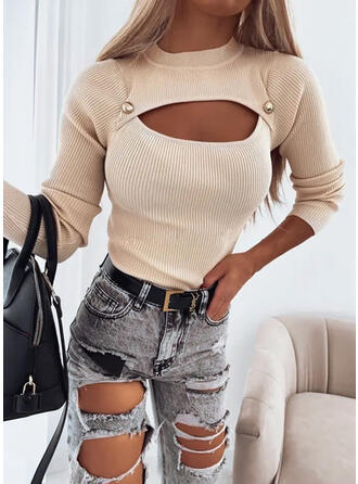 Solid Cotton Round Neck Sexy Sweaters