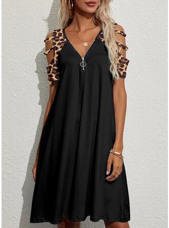 Leopard Short Sleeves Cold Shoulder Sleeve Shift Knee Length Casual Dresses