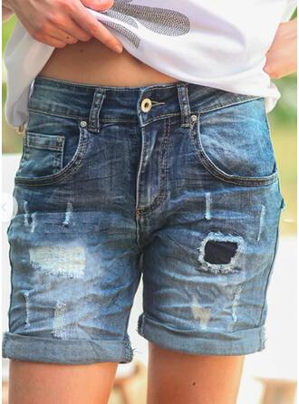 Patchwork Shirred Sexy Vintage Denim & Jeans