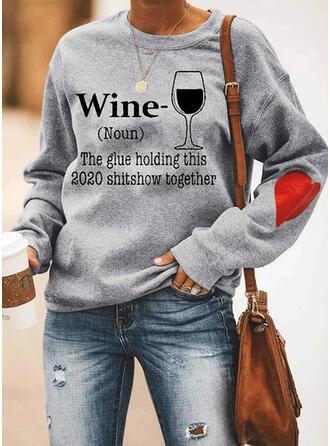 Print Heart Round Neck Long Sleeves Sweatshirt