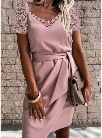 Solid Lace Short Sleeves Sheath Above Knee Elegant Dresses
