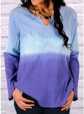 Gradient V-Neck Long Sleeves Casual Blouses