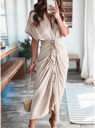 Solid 1/2 Sleeves Sheath Shirt Casual Midi Dresses