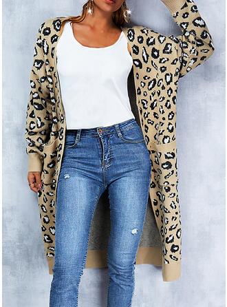 Leopard V-Neck Casual Cardigan