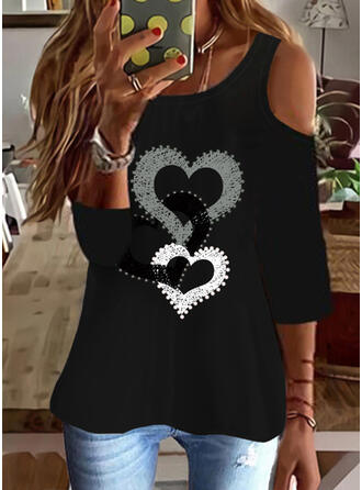 Heart Print Cold Shoulder 3/4 Sleeves T-shirts