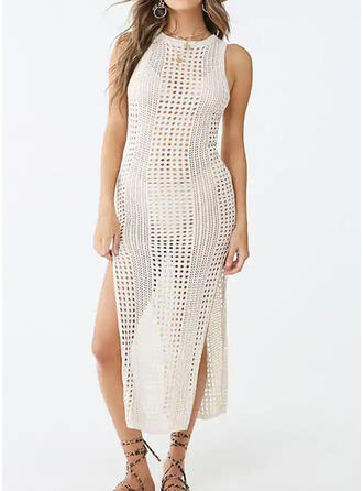 Mesh Round Neck Casual Cover-ups Swimsuits