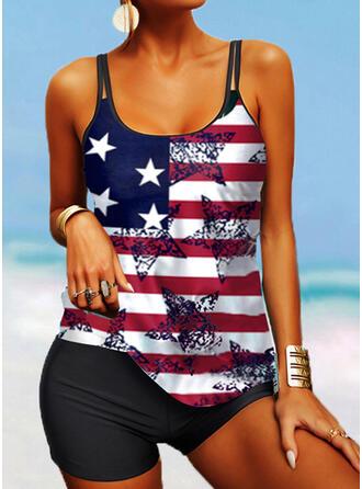 Flag Star Splice color Strap U-Neck Classic Tankinis Swimsuits