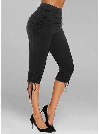 Solid Capris Casual Plus Size Drawstring Knot Leggings