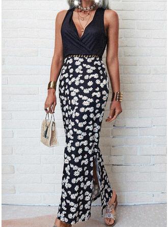 Print/Floral Sleeveless Sheath Casual/Vacation Maxi Dresses
