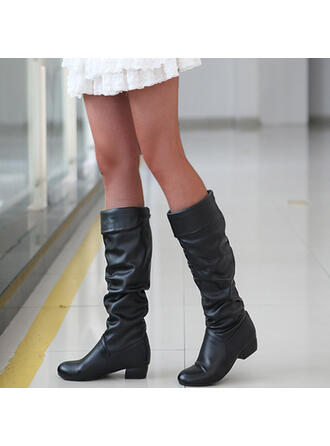Women's PU Flat Heel Boots Knee High Boots Over The Knee Boots Snow Boots High Top With Solid Color shoes