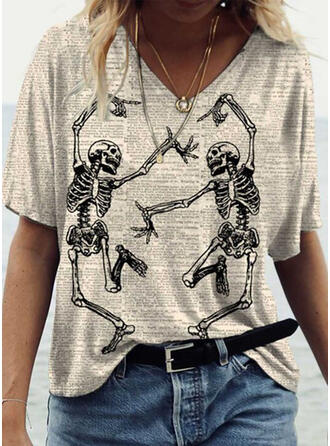 Halloween Print V-Neck Short Sleeves Casual Blouses