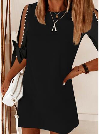 Solid/Beaded 1/2 Sleeves/Split Sleeve Shift Above Knee Little Black/Elegant Dresses