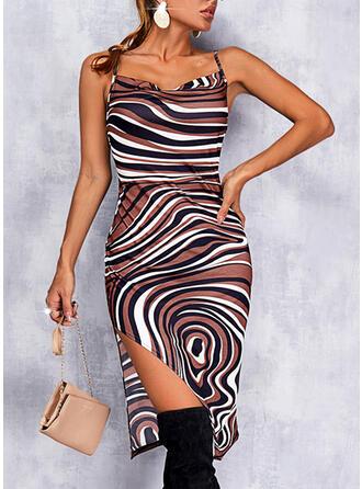 Print Sleeveless Bodycon Knee Length Sexy Slip Dresses