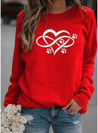 Print Heart Animal Round Neck Long Sleeves Sweatshirt