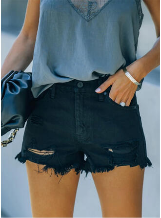 Solid Ripped Tassel Elegant Sexy Shorts Denim & Jeans