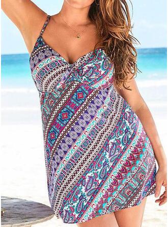 Print Geometric Strap V-Neck Bohemian Casual Swimdresses Swimsuits