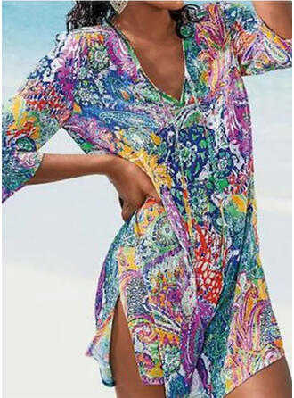 Print V-Neck Vintage Fresh Cover-ups Swimsuits
