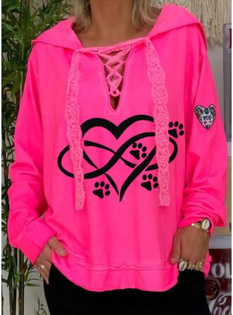 Animal Print Lace Heart Long Sleeves Hoodie
