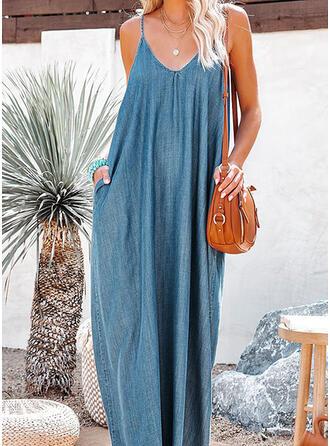 Solid Sleeveless Shift Slip Casual Maxi Dresses