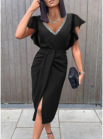 Solid Sequins Short Sleeves Ruffle Sleeve Sheath Knee Length Little Black/Elegant Dresses