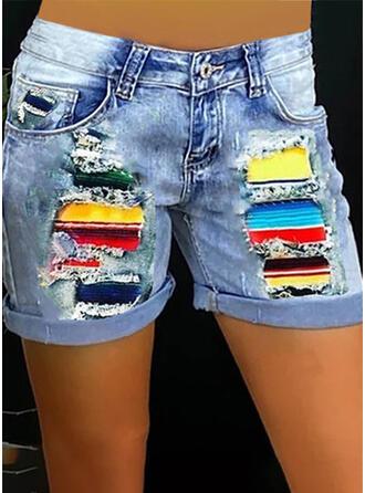 Patchwork Plus Size Denim Print Shorts