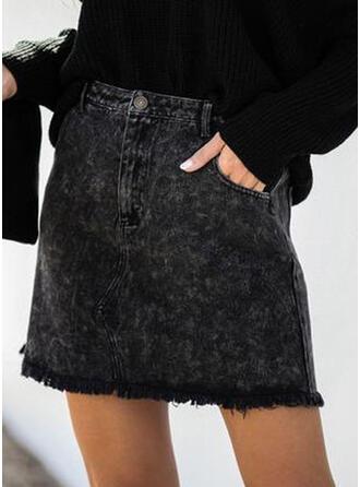 Denim Plain Above Knee Bodycon Skirts