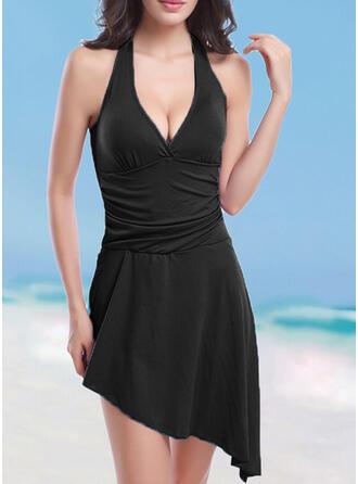 Solid Color Halter V-Neck Elegant Attractive Casual Swimdresses Swimsuits