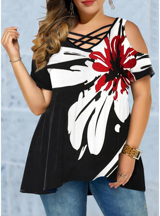 Floral Print V-Neck Short Sleeves Casual Plus Size Blouses