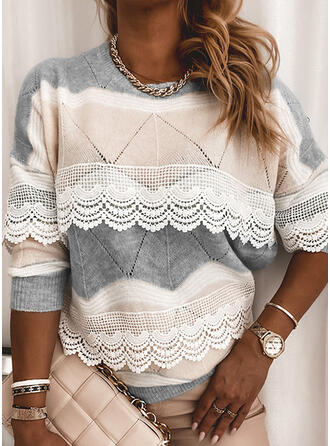 Color Block Lace Round Neck Casual Sweaters