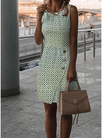 Print Sleeveless Sheath Above Knee Elegant Dresses