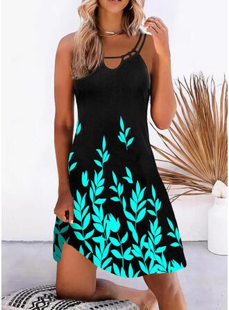 Print Sleeveless Shift Knee Length Vacation Dresses