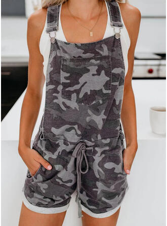 Camouflage Strap Sleeveless Casual Vintage Romper