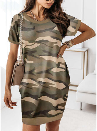 Print/Camouflage Short Sleeves Shift Above Knee Casual T-shirt Dresses