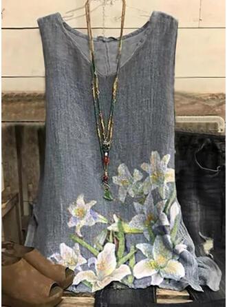 Floral Print V-Neck Sleeveless Tank Tops
